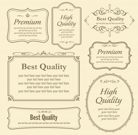 vintage label:  set of calligraphy