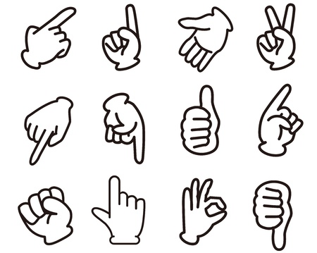 knuckle: hands sign set