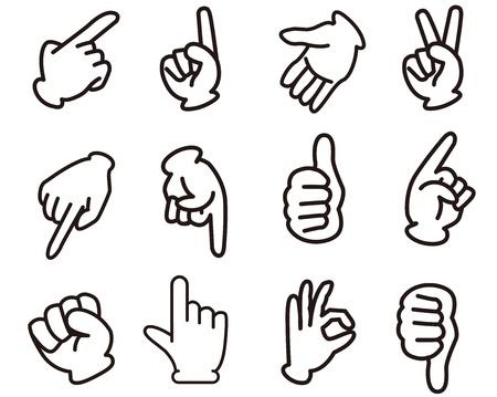 dedo me�ique: manos set signo