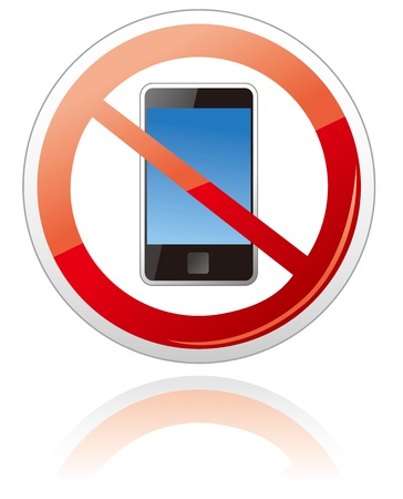 no cell: No smartphone sign  Illustration