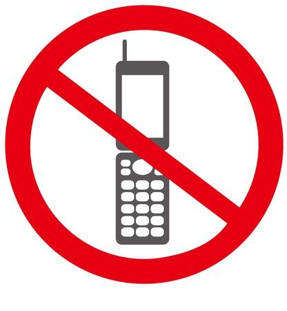 interdiction telephone: Pas de t�l�phone mobile signe Vecteur Illustration