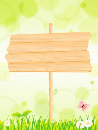 pancarte bois: fond vert naturel et signe bois Vecteur