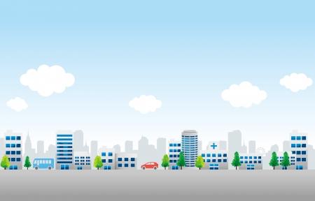 都市町の背景  イラスト・ベクター素材