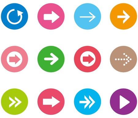 designator: Arrow sign icon set.  Illustration
