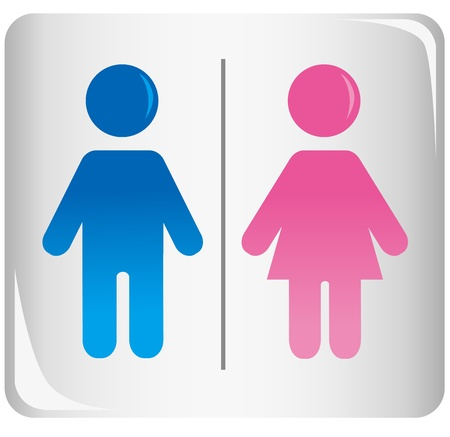 males: Colored male and female sign vector Illustration