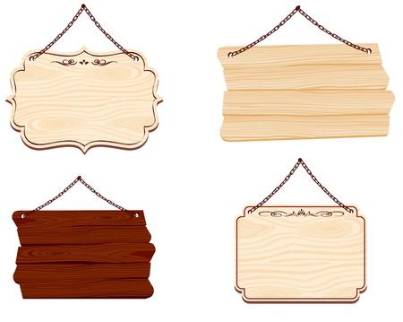 uithangbord: houten bord Vector