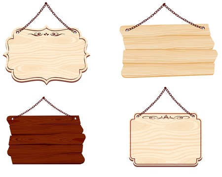 hanging on: wooden sign Vector