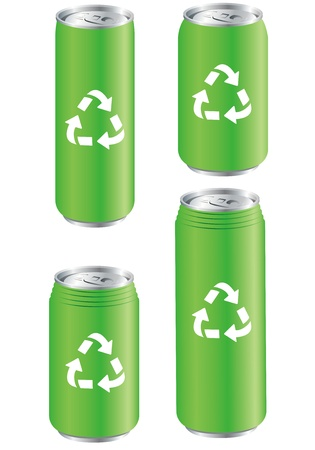 aluminum can: aluminum can recycle  Vector  Illustration