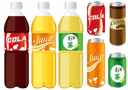 drinks juice cans pet bottle Set Vector   イラスト・ベクター素材