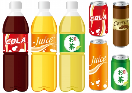 carbonated: drinks juice cans pet bottle Set Vector  Illustration