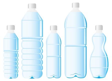 botellas vacias: botella de PET de agua Vectores