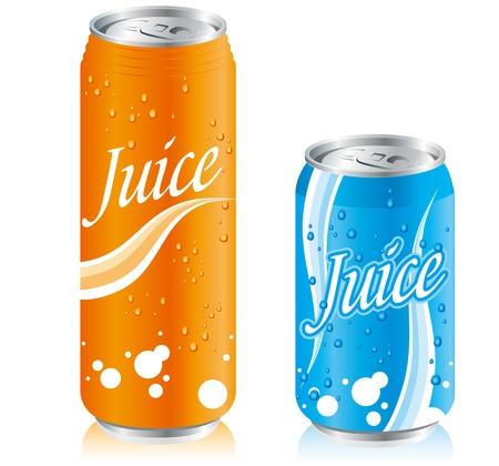 lata de refresco: latas de bebidas de jugo Set Vectores