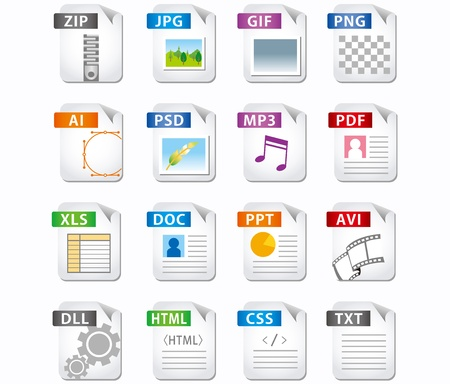 format: web file labels icon set  Illustration