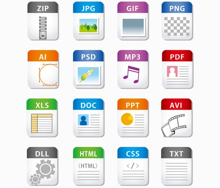 avi: web file labels icon set