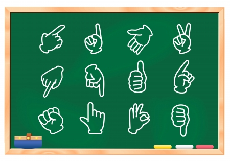 hand sign set blackboard  Vector