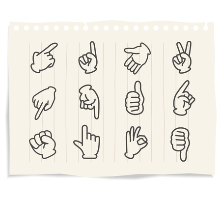 �hand sign set notebook Vector