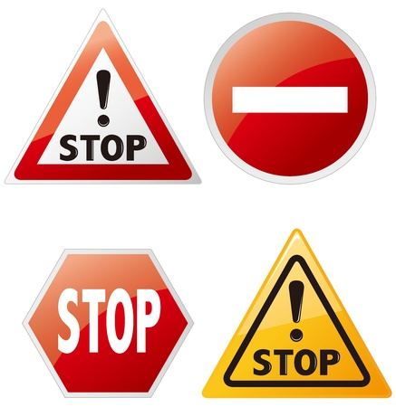 warning sign set Vector  Vector