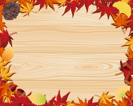 Autumn leaf   wooden board  Vector