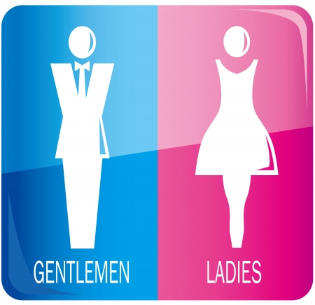 bathroom women: male and female sign Vector  Illustration