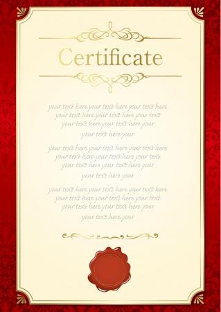 cenefas decorativas: certificado de marco retro plantilla de Vector
