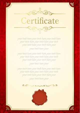 honours: retro frame certificate template Vector  Illustration