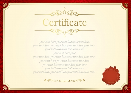 stock certificate: retro frame certificate template Vector  Illustration