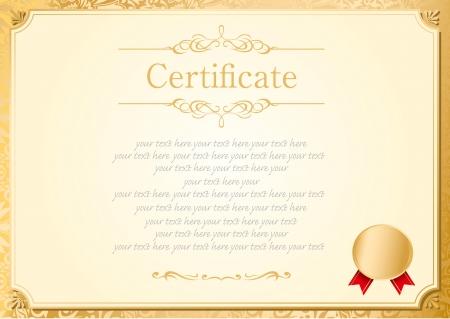 certificate frame: retro frame certificate template Vector  Illustration