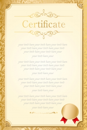 formal blue: retro frame certificate template Vector  Illustration