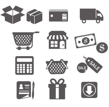 Einkaufs Symbole gesetzt
