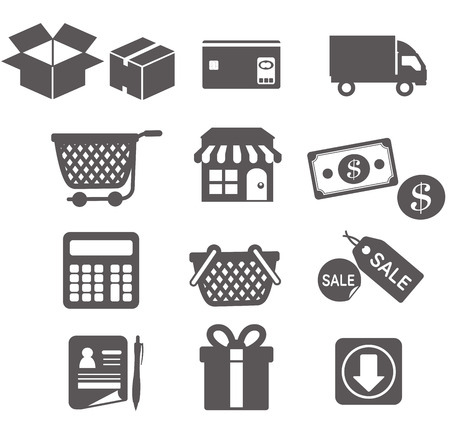 Winkelen icons set