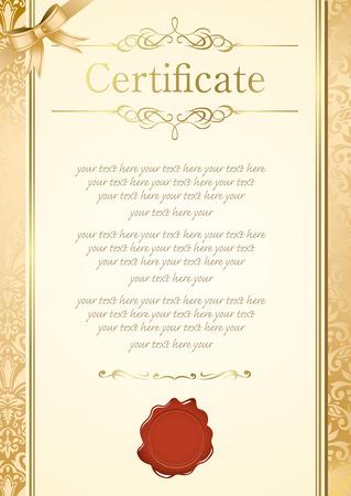retro frame certificate template Vector  Иллюстрация