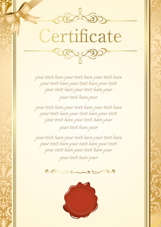 bank note: retro frame certificate template Vector  Illustration