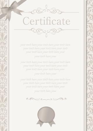 formal blue: retro frame certificate template Vector