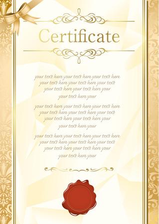 formal blue: retro frame certificate template Vector  Illustration