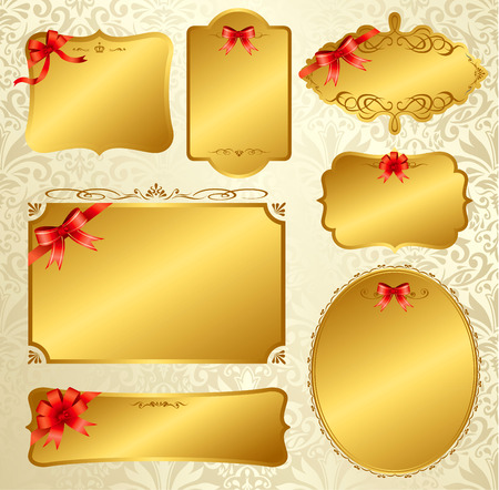 Label message card ribbon Vector