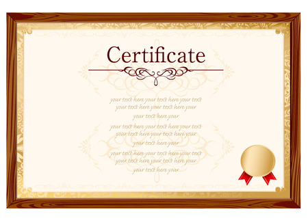 formal blue: retro frame certificate template Vector