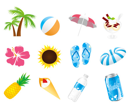 summer icon set Vector Vector