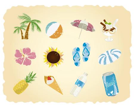 sun block: summer icon set Vector  Illustration