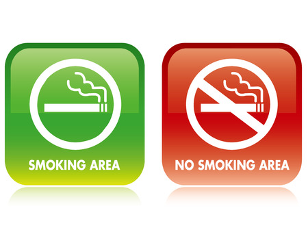 risk sickness: No smoking and Smoking area Vector