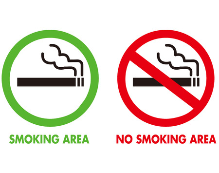 pictogram attention: No smoking and Smoking area Vector