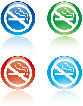 smoldering cigarette: No smoking sign Vector