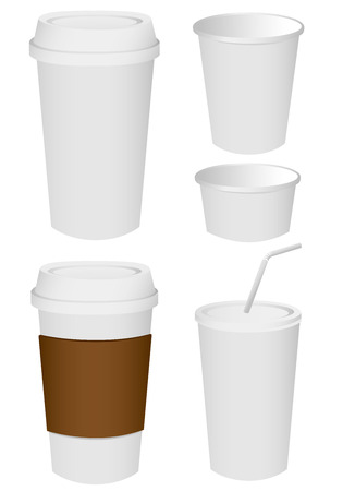 takeout: Paper cup set Vector Illustration