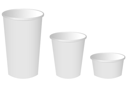 plastic container: Paper cup set Vector Illustration