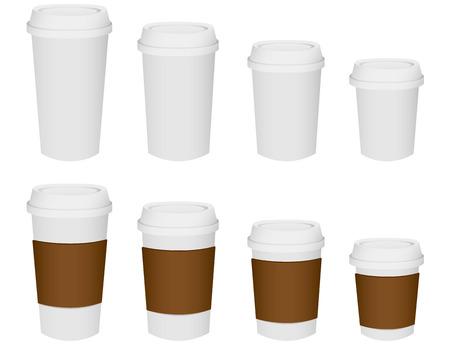 plastic cup: Paper cup set Vector Illustration