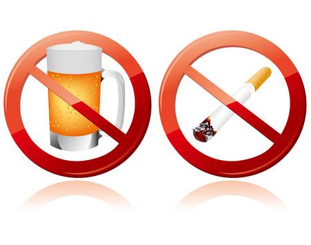 금연과 아니 알코올 기호 벡터