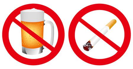 cerveza negra: No fumar y No hay señales alcohol Vector