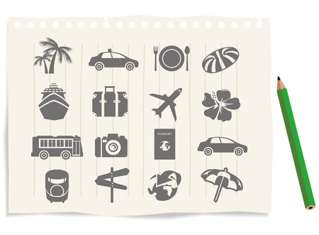excursions: tourism icons note Vector