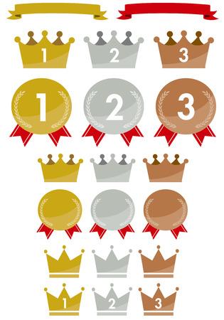king crown laurel icon round: Gold icons set
