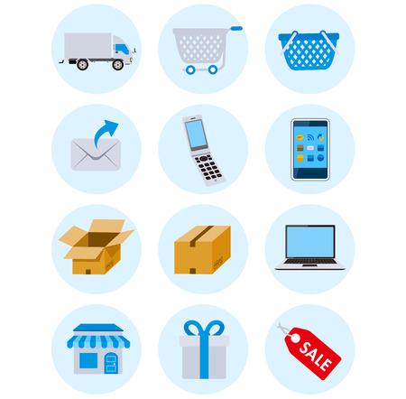 ネット ショッピングのアイコン ベクトル  イラスト・ベクター素材