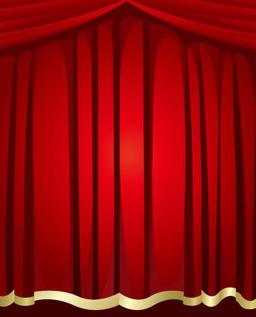 赤いカーテンの背景のベクトル